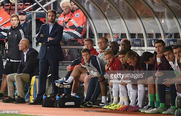 England manager Gareth Southgate looks on during the UEFA Under21 European Championship match between England and Italy at Andruv Stadium on June 24...
