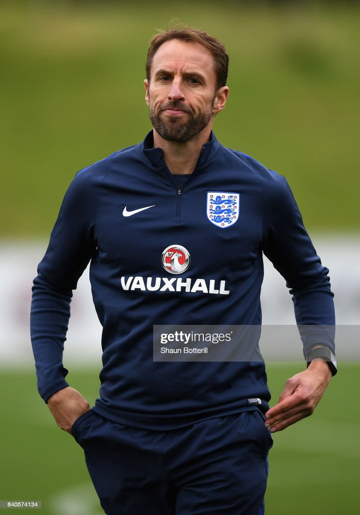 England Manager, Gareth Southgate reacts during a England training session ahead of their World Cup Qualifiers against Malta and Slovakia at St Georges Park on August 29, 2017 in Burton-upon-Trent, England.