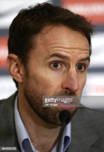 England Manager Gareth Southgate speaks during a press conference following the England Squad Announcement at St Georges Park on March 16 2017 in...