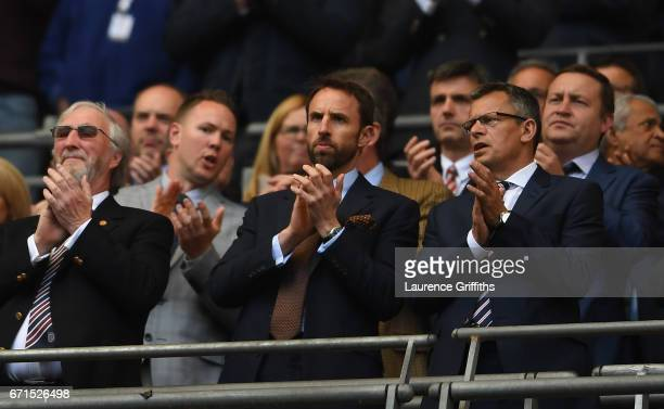 England manager Gareth Southgate takes part in a minute's applause for Ugo Ehiogu with FA Chief Executive Martin Glenn during The Emirates FA Cup...