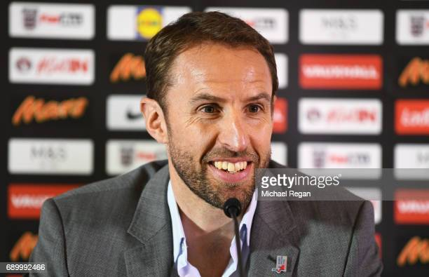 England manager Gareth Southgate talks during a press conference at St George's Park on May 30 2017 in BurtonuponTrent England