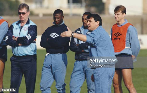 England manager Graham Taylor gestures as assistant Lawrie McMenemy looks on during a training session ahead of an International Match against Turkey...