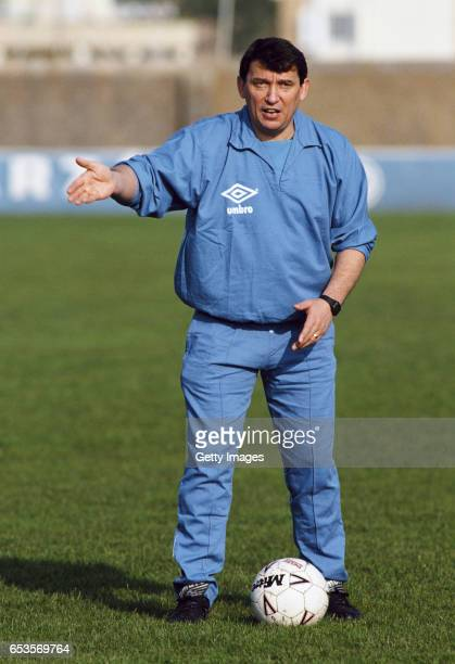 England manager Graham Taylor gestures during a training session ahead of an International Match against Turkey on April 29 1991 in Izmir Turkey