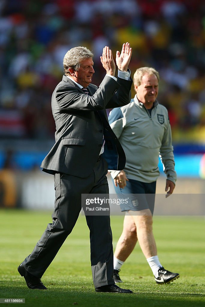England manager Roy Hodgson acknowledges the fans and his team after a 0-0 draw during the 2014 FIFA World Cup Brazil Group D match between Costa Rica and England at Estadio Mineirao on June 24, 2014 in Belo Horizonte, Brazil.