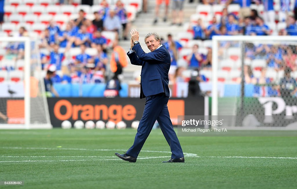 England manager <a gi-track='captionPersonalityLinkClicked' href=/galleries/search?phrase=Roy+Hodgson&family=editorial&specificpeople=881703 ng-click='$event.stopPropagation()'>Roy Hodgson</a> acknowledges the fans prior to kickoff during the UEFA EURO 2016 round of 16 match between England and Iceland at Allianz Riviera Stadium on June 27, 2016 in Nice, France.
