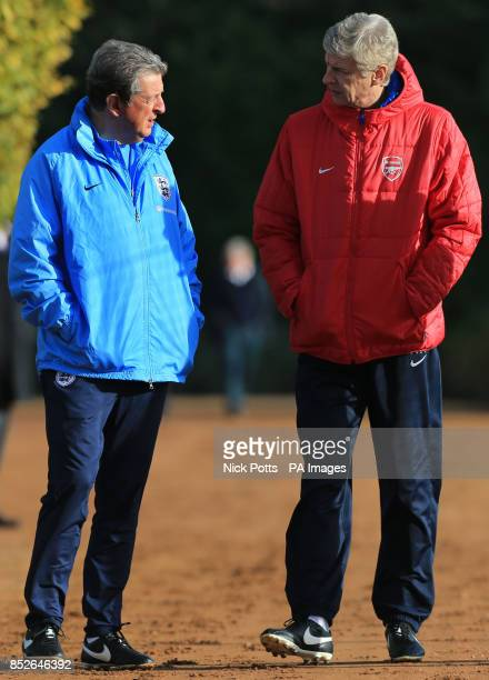 England manager Roy Hodgson and Arsenal manager Arsene Wenger during a training session at London Colney Hertfordshire