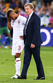 England manager Roy Hodgson and Ashley Cole look dejected after the penalty shoot out during the UEFA EURO 2012 quarter final match between England...