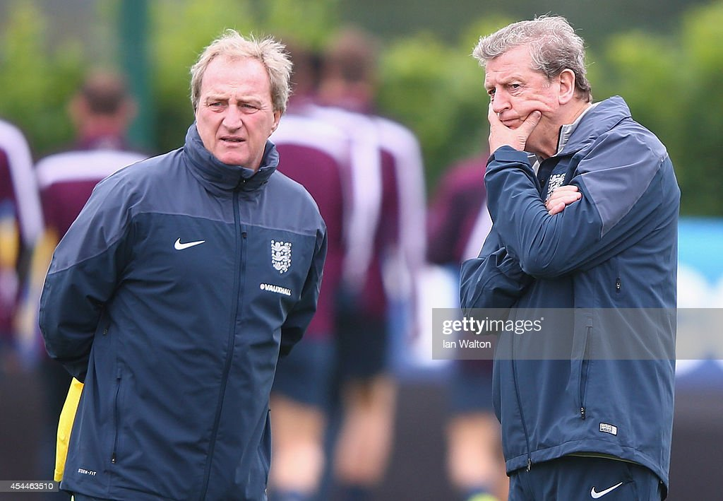 England manager <a gi-track='captionPersonalityLinkClicked' href=/galleries/search?phrase=Roy+Hodgson&family=editorial&specificpeople=881703 ng-click='$event.stopPropagation()'>Roy Hodgson</a> and assistant Ray Lewington conduct an England training session before there international friendly match against Norway at London Colney on September 1, 2014 in London, England.