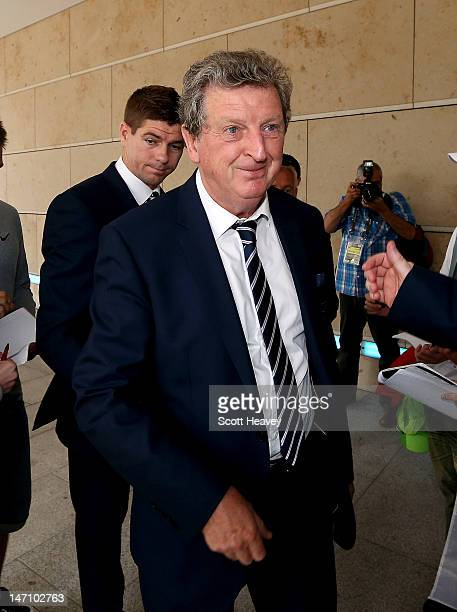 England manager Roy Hodgson and captain Steven Gerrard arrive for a UEFA EURO 2012 press conference on June 25 2012 in Krakow Poland