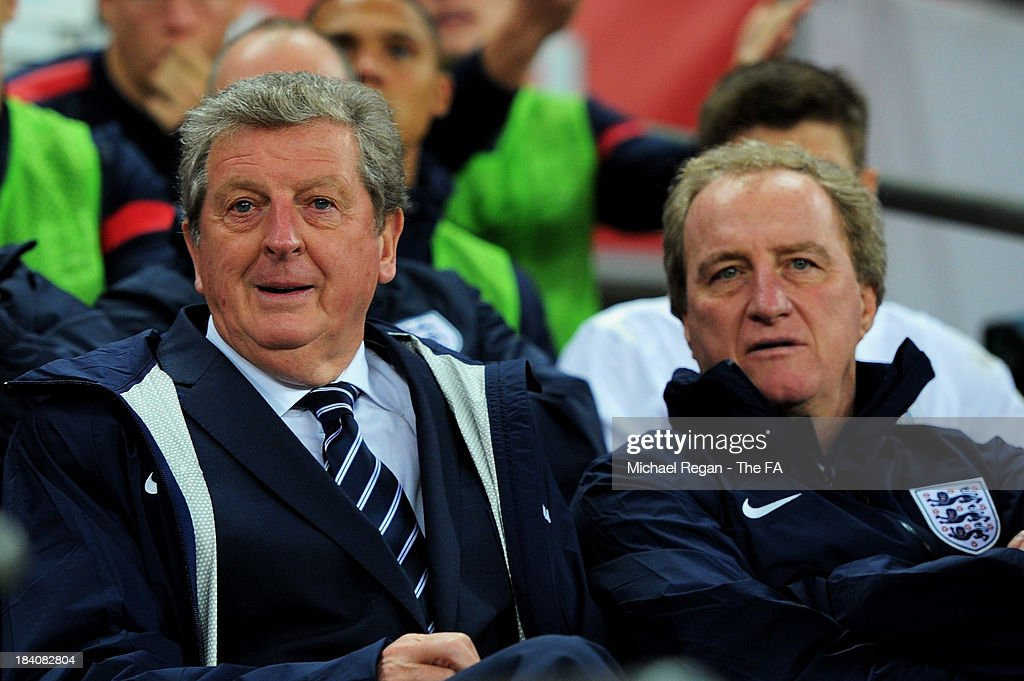 England manager <a gi-track='captionPersonalityLinkClicked' href=/galleries/search?phrase=Roy+Hodgson&family=editorial&specificpeople=881703 ng-click='$event.stopPropagation()'>Roy Hodgson</a> and England assistant manager <a gi-track='captionPersonalityLinkClicked' href=/galleries/search?phrase=Ray+Lewington&family=editorial&specificpeople=224730 ng-click='$event.stopPropagation()'>Ray Lewington</a> look on from the bench during the FIFA 2014 World Cup Qualifying Group H match between England and Montenegro at Wembley Stadium on October 11, 2013 in London, England.