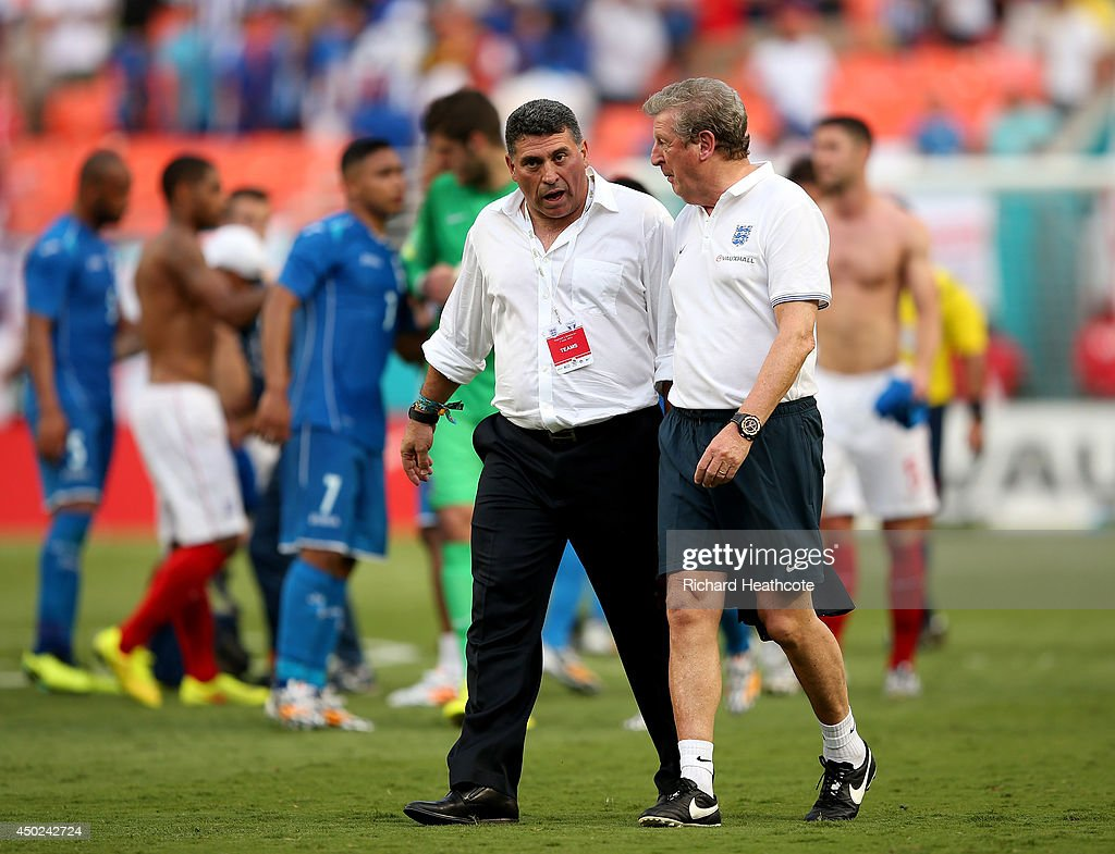 England Manager Roy Hodgson and Honduras Manager Luis Fernando Suarez talk at the final whistle during the International Friendly match between England and Honduras at the Sun Life Stadium on June 7, 2014 in Miami Gardens, Florida.