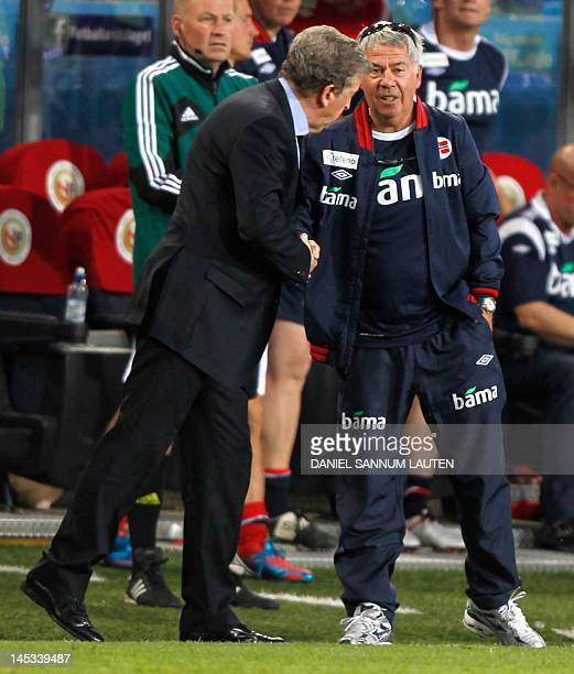 England manager Roy Hodgson and Norway's head coach Egil Olsen after the International friendly football match between Norway and England at Ullevaal...