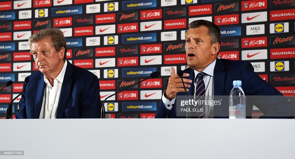 England manager Roy Hodgson and the Football Association's CEO Martin Glenn address a press conference in Chantilly, northern France, on June 28, 2016, after Hodgson's resignation following the team's 2-1 defeat to Iceland during the Euro 2016 football tournament. / AFP / PAUL