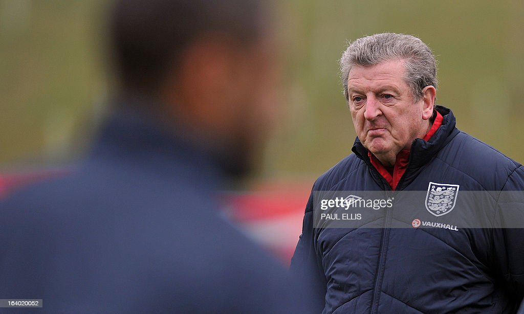 England manager Roy Hodgson attends a training session at the St George's Park training complex, near Burton-upon-Trent, central England on March 19, 2013 ahead of their 2014 World Cup qualifier football match against San Marino on March 22.