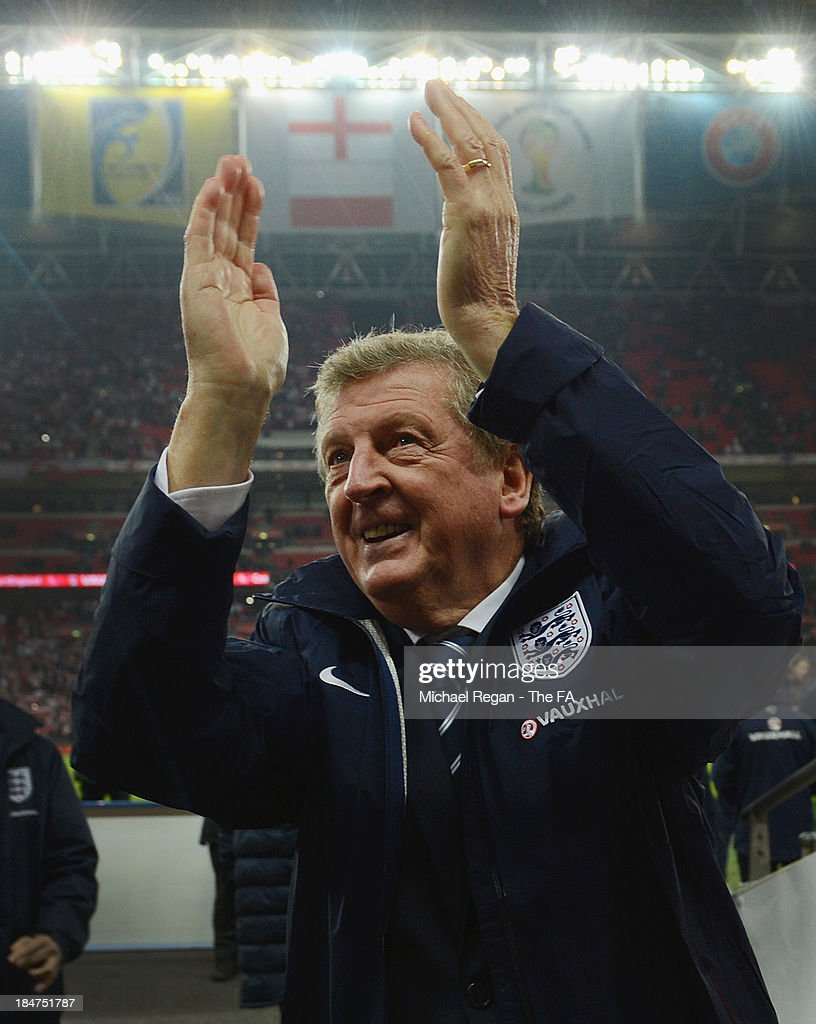 England manager <a gi-track='captionPersonalityLinkClicked' href=/galleries/search?phrase=Roy+Hodgson&family=editorial&specificpeople=881703 ng-click='$event.stopPropagation()'>Roy Hodgson</a> celebrates after the FIFA 2014 World Cup Qualifying Group H match between England and Poland at Wembley Stadium on October 15, 2013 in London, England.