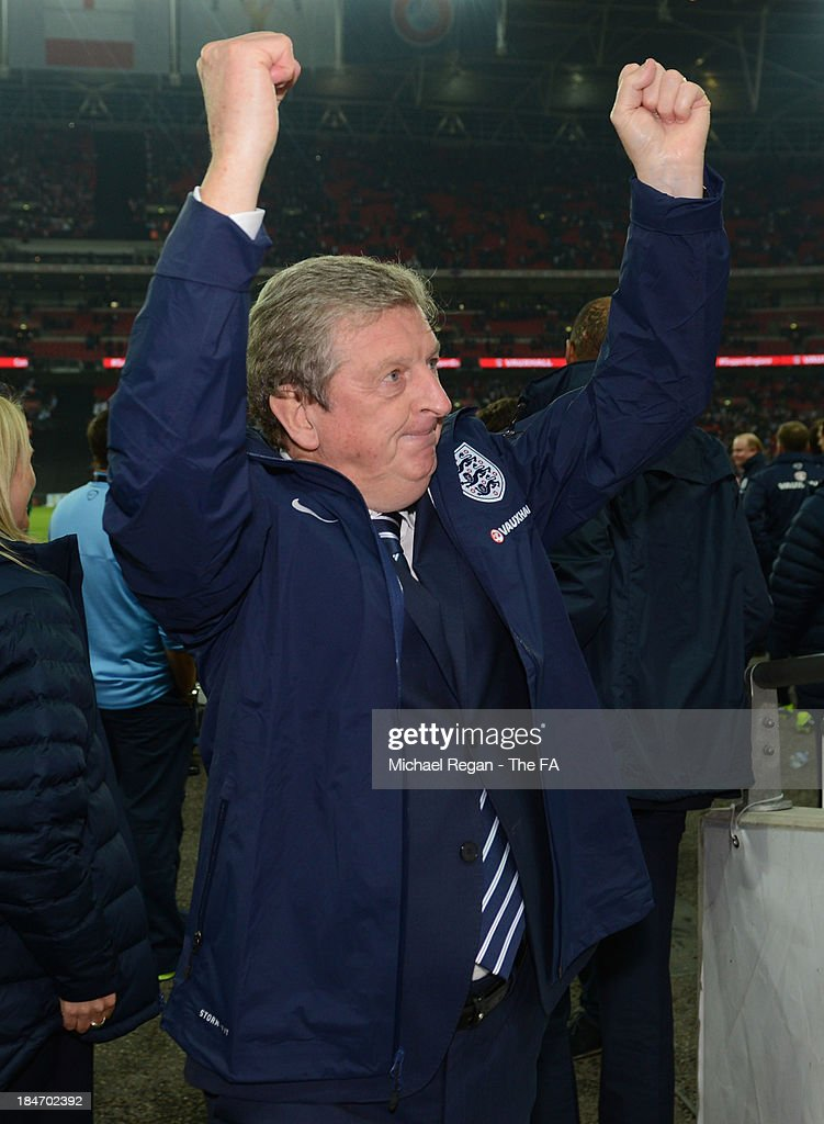 England manager <a gi-track='captionPersonalityLinkClicked' href=/galleries/search?phrase=Roy+Hodgson&family=editorial&specificpeople=881703 ng-click='$event.stopPropagation()'>Roy Hodgson</a> celebrates after victory in the FIFA 2014 World Cup Qualifying Group H match between England and Poland at Wembley Stadium on October 15, 2013 in London, England.