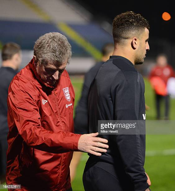 England manager Roy Hodgson chats with Kyke Walker during an England Training Session at the Serravalle Stadium on March 21 2013 in San Marino