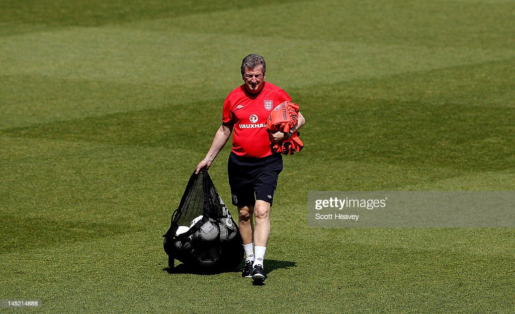 England manager Roy Hodgson during an England training session at Etihad Stadium on May 24, 2012 in Manchester, England.
