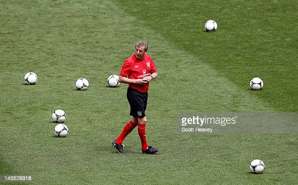 England manager Roy Hodgson during an England training session at Wembley Stadium on June 1 2012 in London England