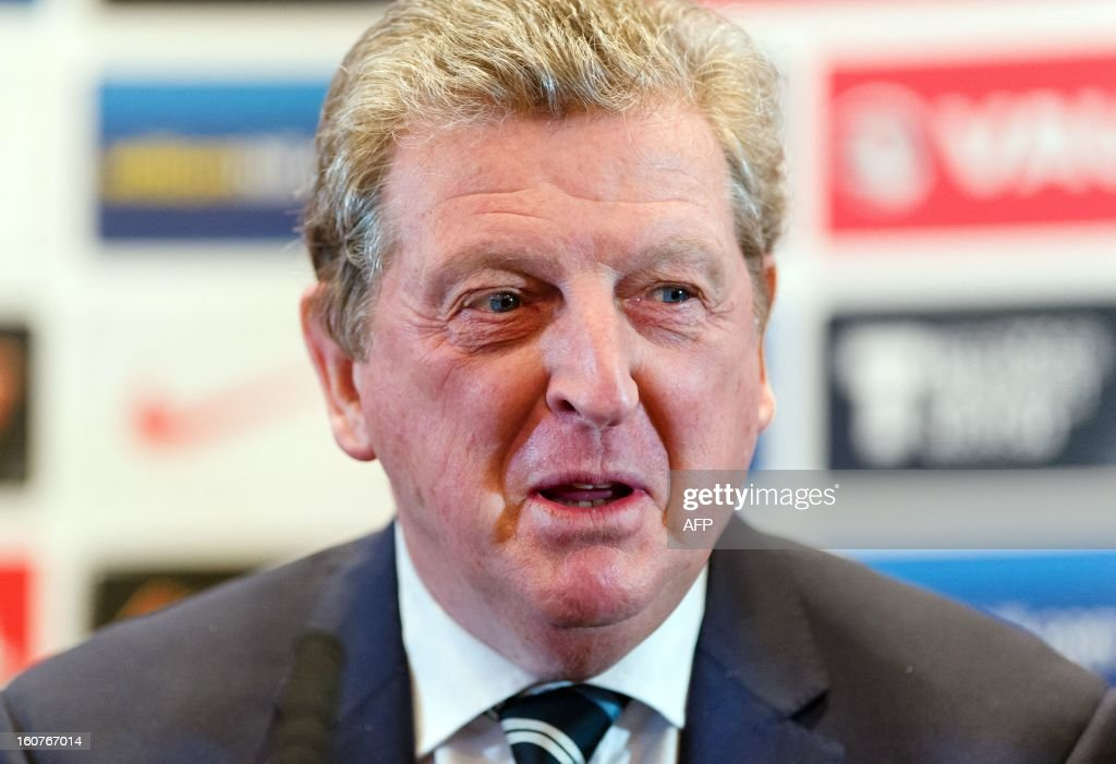 England manager Roy Hodgson holds a press conference in central London on February 5, 2013 ahead of his team's international friendly football match against Brazil on February 6. AFP PHOTO/Leon Neal == NOT