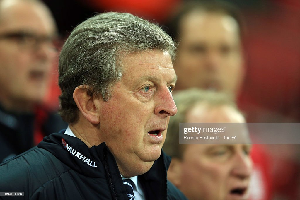 England Manager Roy Hodgson is prior to the International Friendly match between England and Brazil at Wembley Stadium on February 6, 2013 in London, England.