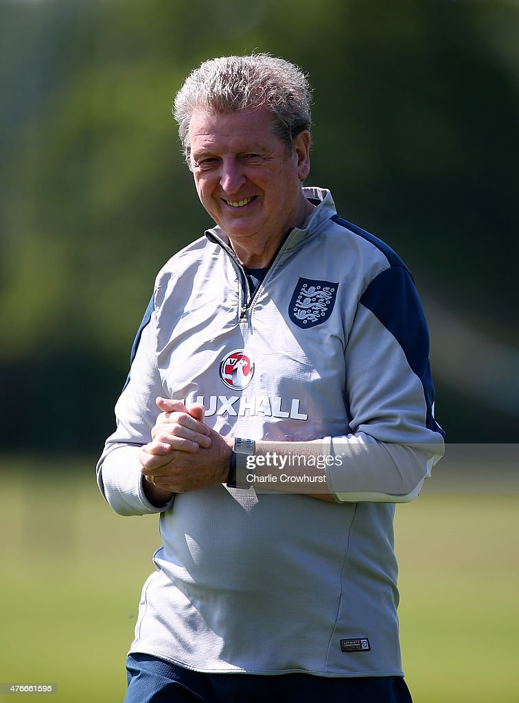 England manager <a gi-track='captionPersonalityLinkClicked' href=/galleries/search?phrase=Roy+Hodgson&family=editorial&specificpeople=881703 ng-click='$event.stopPropagation()'>Roy Hodgson</a> keeps an eye on the training session during the England Training Session ahead of their EURO 2016 Group E qualifier against Slovenia on June 06, 2015 in St Albans, England.