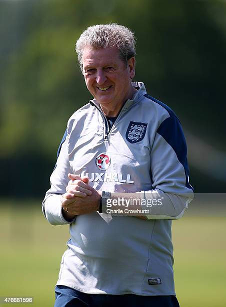 England manager Roy Hodgson keeps an eye on the training session during the England Training Session ahead of their EURO 2016 Group E qualifier...