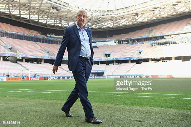 England manager Roy Hodgson looks on as the England team inspect the pitch at the Allianz Riviera Stadium on June 26 2016 in Nice France