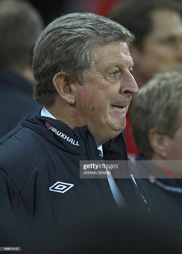 England manager Roy Hodgson looks on before the international friendly football match between England and Brazil at Wembley Stadium in north London on February 6, 2013. AFP PHOTO / ADRIAN DENNIS USE