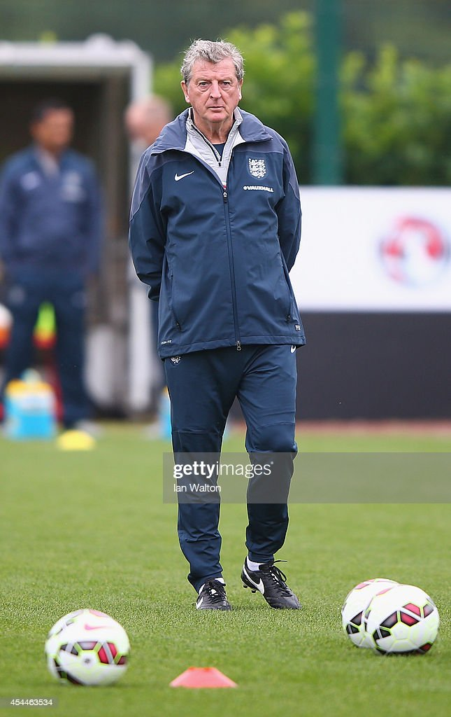 England manager <a gi-track='captionPersonalityLinkClicked' href=/galleries/search?phrase=Roy+Hodgson&family=editorial&specificpeople=881703 ng-click='$event.stopPropagation()'>Roy Hodgson</a> looks on during a England training session before there international friendly match against Norway at London Colney on September 1, 2014 in London, England.