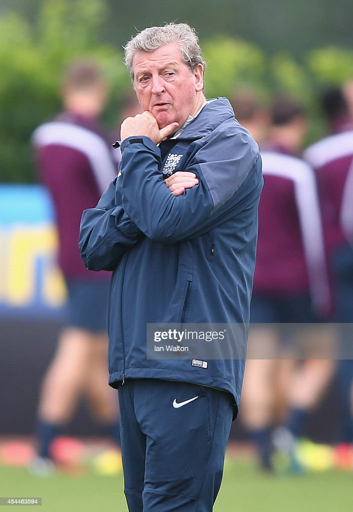 England manager <a gi-track='captionPersonalityLinkClicked' href=/galleries/search?phrase=Roy+Hodgson&family=editorial&specificpeople=881703 ng-click='$event.stopPropagation()'>Roy Hodgson</a> looks on during a England training session before the international friendly match against Norway at London Colney on September 1, 2014 in London, England.
