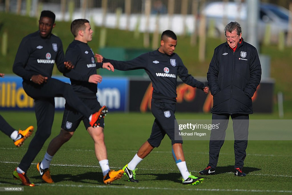 England manager Roy Hodgson looks on during the Engand training session at St Georges Park on February 4, 2013 in Burton-upon-Trent, England.