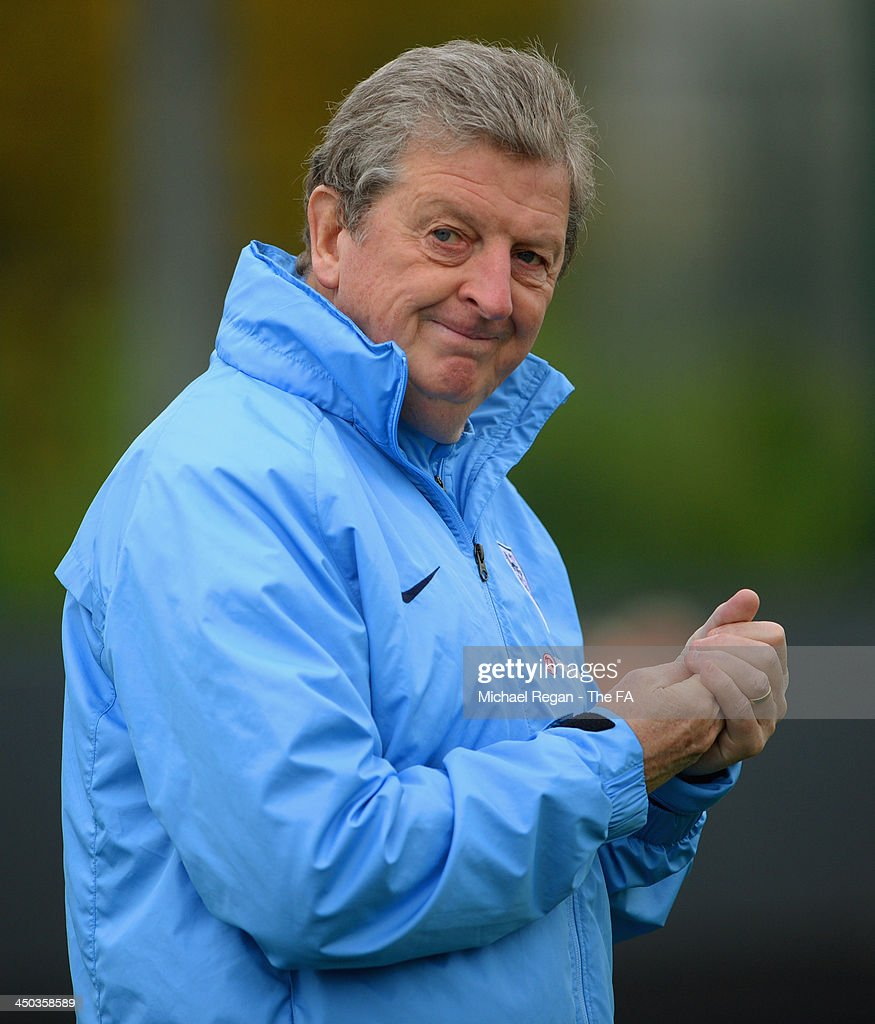 England manager <a gi-track='captionPersonalityLinkClicked' href=/galleries/search?phrase=Roy+Hodgson&family=editorial&specificpeople=881703 ng-click='$event.stopPropagation()'>Roy Hodgson</a> looks on during the England training session at London Colney on November 18, 2013 in St Albans, England.