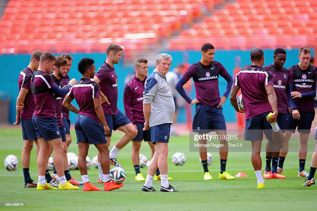 England manager <a gi-track='captionPersonalityLinkClicked' href=/galleries/search?phrase=Roy+Hodgson&family=editorial&specificpeople=881703 ng-click='$event.stopPropagation()'>Roy Hodgson</a> looks on during the England training session at Sun Life Stadium on June 3, 2014 in Miami, Florida.