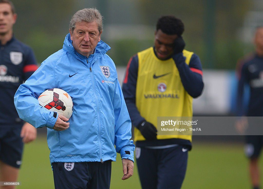 England manager <a gi-track='captionPersonalityLinkClicked' href=/galleries/search?phrase=Roy+Hodgson&family=editorial&specificpeople=881703 ng-click='$event.stopPropagation()'>Roy Hodgson</a> looks on with <a gi-track='captionPersonalityLinkClicked' href=/galleries/search?phrase=Daniel+Sturridge+-+Soccer+Player&family=editorial&specificpeople=677270 ng-click='$event.stopPropagation()'>Daniel Sturridge</a> during the England training session at London Colney on November 18, 2013 in St Albans, England.