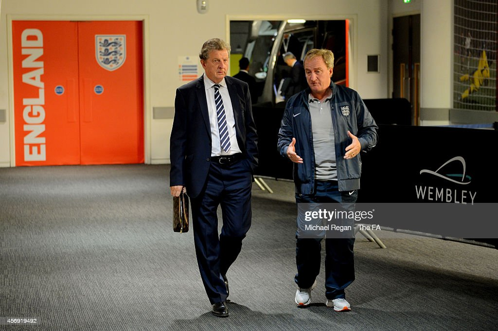 England manager <a gi-track='captionPersonalityLinkClicked' href=/galleries/search?phrase=Roy+Hodgson&family=editorial&specificpeople=881703 ng-click='$event.stopPropagation()'>Roy Hodgson</a> of England and England assistant manager <a gi-track='captionPersonalityLinkClicked' href=/galleries/search?phrase=Ray+Lewington&family=editorial&specificpeople=224730 ng-click='$event.stopPropagation()'>Ray Lewington</a> arrive the EURO 2016 Qualifier match between England and San Marino at Wembley Stadium on October 9, 2014 in London, England.