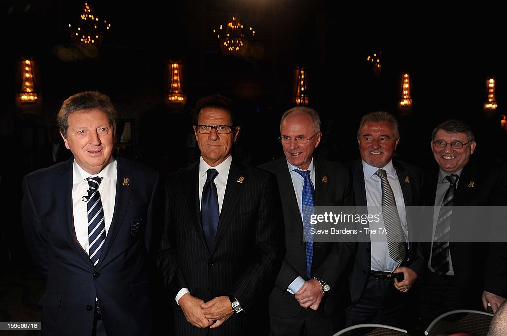 England manager <a gi-track='captionPersonalityLinkClicked' href=/galleries/search?phrase=Roy+Hodgson&family=editorial&specificpeople=881703 ng-click='$event.stopPropagation()'>Roy Hodgson</a> (L) poses with former England managers (L-R) <a gi-track='captionPersonalityLinkClicked' href=/galleries/search?phrase=Fabio+Capello&family=editorial&specificpeople=241290 ng-click='$event.stopPropagation()'>Fabio Capello</a>, <a gi-track='captionPersonalityLinkClicked' href=/galleries/search?phrase=Sven-Goran+Eriksson&family=editorial&specificpeople=240617 ng-click='$event.stopPropagation()'>Sven-Goran Eriksson</a>, <a gi-track='captionPersonalityLinkClicked' href=/galleries/search?phrase=Terry+Venables&family=editorial&specificpeople=240288 ng-click='$event.stopPropagation()'>Terry Venables</a> and <a gi-track='captionPersonalityLinkClicked' href=/galleries/search?phrase=Graham+Taylor&family=editorial&specificpeople=899310 ng-click='$event.stopPropagation()'>Graham Taylor</a> during the official launch to mark the FA's 150th Anniversary Year at the Grand Connaught Rooms on January 16, 2013 in London, England.