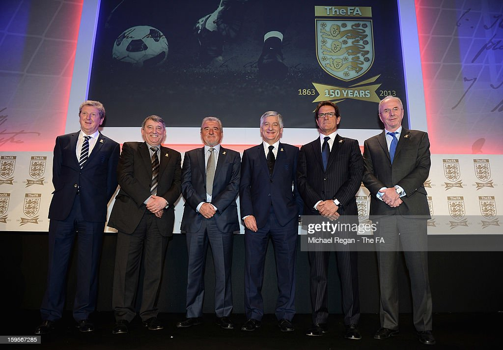 England manager <a gi-track='captionPersonalityLinkClicked' href=/galleries/search?phrase=Roy+Hodgson&family=editorial&specificpeople=881703 ng-click='$event.stopPropagation()'>Roy Hodgson</a> (L) poses with former England managers <a gi-track='captionPersonalityLinkClicked' href=/galleries/search?phrase=Graham+Taylor&family=editorial&specificpeople=899310 ng-click='$event.stopPropagation()'>Graham Taylor</a>, <a gi-track='captionPersonalityLinkClicked' href=/galleries/search?phrase=Terry+Venables&family=editorial&specificpeople=240288 ng-click='$event.stopPropagation()'>Terry Venables</a>, <a gi-track='captionPersonalityLinkClicked' href=/galleries/search?phrase=Fabio+Capello&family=editorial&specificpeople=241290 ng-click='$event.stopPropagation()'>Fabio Capello</a>, <a gi-track='captionPersonalityLinkClicked' href=/galleries/search?phrase=Sven-Goran+Eriksson&family=editorial&specificpeople=240617 ng-click='$event.stopPropagation()'>Sven-Goran Eriksson</a> and FA Chairman <a gi-track='captionPersonalityLinkClicked' href=/galleries/search?phrase=David+Bernstein&family=editorial&specificpeople=6425521 ng-click='$event.stopPropagation()'>David Bernstein</a> (3rdR) during the official launch to mark the FA's 150th Anniversary Year at the Grand Connaught Rooms on January 16, 2013 in London, England.