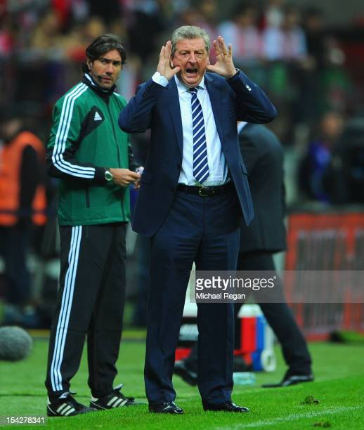 England manager Roy Hodgson shouts instuctions during the FIFA 2014 World Cup Qualifier between Poland and England at the National Stadium on October...