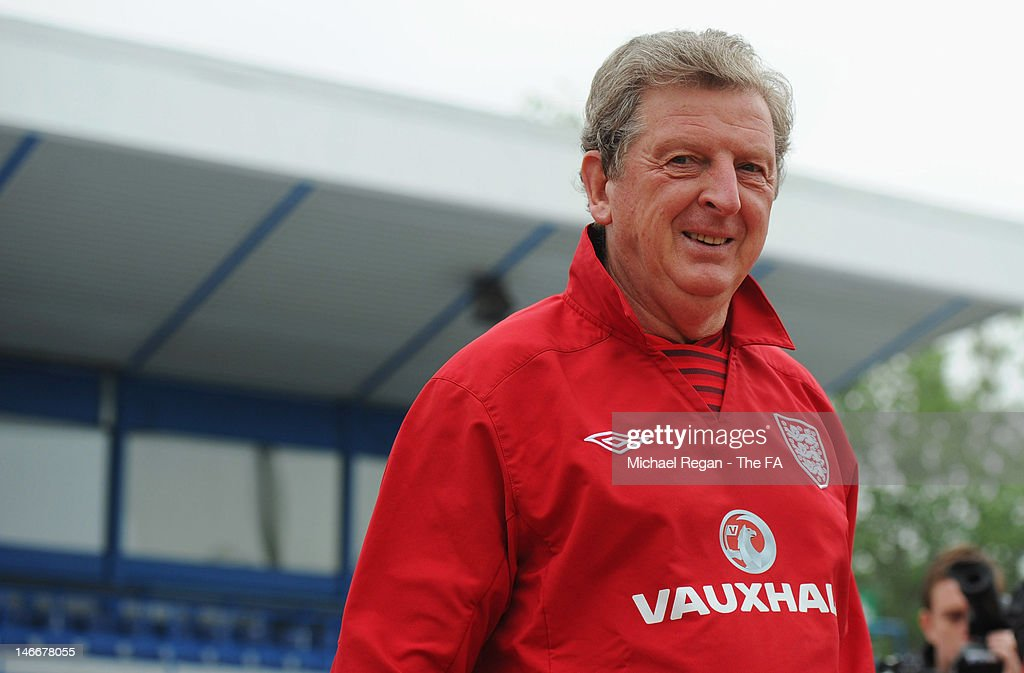 England manager <a gi-track='captionPersonalityLinkClicked' href=/galleries/search?phrase=Roy+Hodgson&family=editorial&specificpeople=881703 ng-click='$event.stopPropagation()'>Roy Hodgson</a> smiles during a training session ahead of their UEFA Euro 2012 Quarter Final match against Italy at Hutnik Stadium on June 22, 2012 in Krakow, Poland.