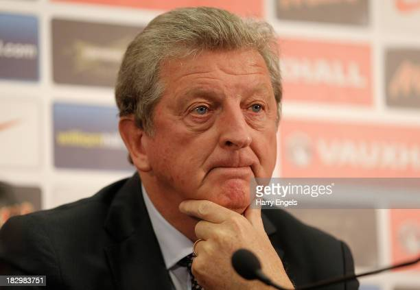 England manager Roy Hodgson speaks during a press conference following the announcement of the England U21 and Senior squads at Wembley Stadium on...