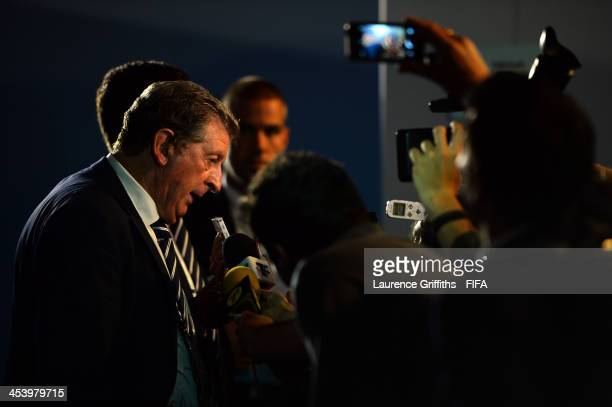 England manager Roy Hodgson speaks to members of the media after the Final Draw for the 2014 FIFA World Cup Brazil at Costa do Sauipe Resort on...
