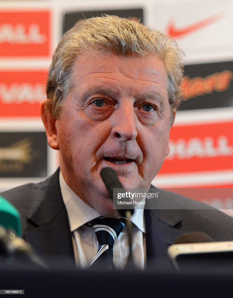 England manager <a gi-track='captionPersonalityLinkClicked' href=/galleries/search?phrase=Roy+Hodgson&family=editorial&specificpeople=881703 ng-click='$event.stopPropagation()'>Roy Hodgson</a> speaks to the media during the England press conference at the Churchill Hotel on February 5, 2013 in London, England.