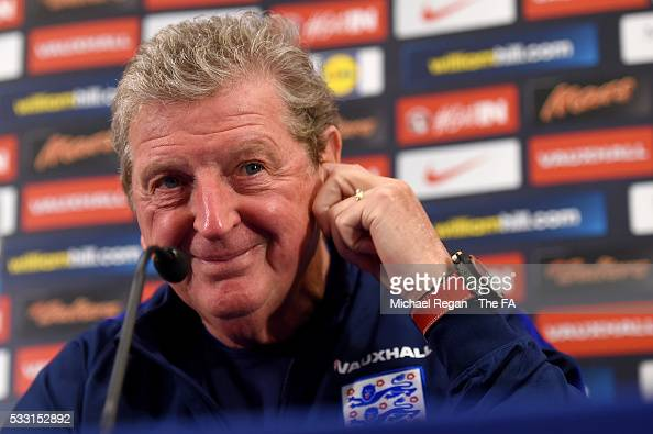 England manager Roy Hodgson speaks with members of the media during an England press conference at St Georges Park on May 20 2016 in BurtonuponTrent...