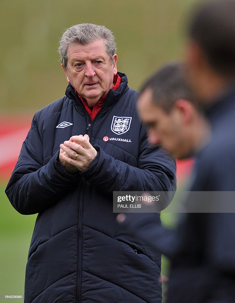England manager Roy Hodgson takes part in a training session at the St George's Park training complex, near Burton-upon-Trent, central England on March 19, 2013 ahead of their 2014 World Cup qualifier football match against San Marino on March 22.