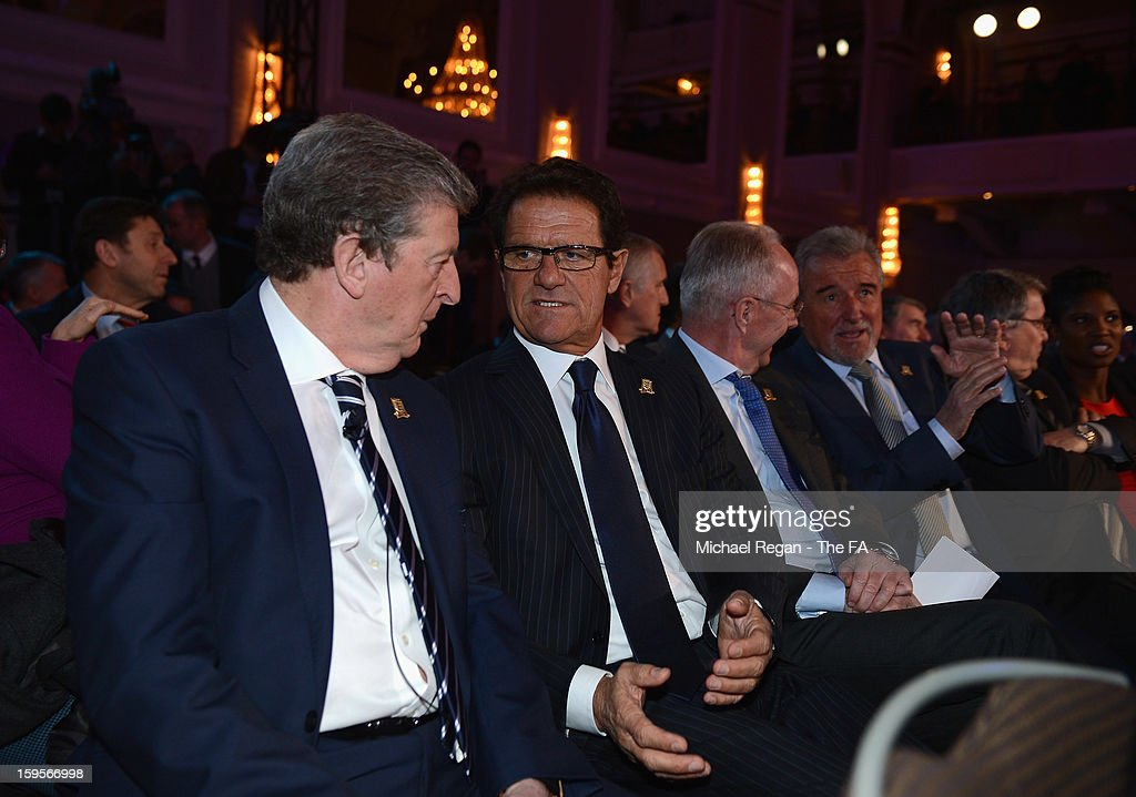 England manager <a gi-track='captionPersonalityLinkClicked' href=/galleries/search?phrase=Roy+Hodgson&family=editorial&specificpeople=881703 ng-click='$event.stopPropagation()'>Roy Hodgson</a> (L) talks to former England manager <a gi-track='captionPersonalityLinkClicked' href=/galleries/search?phrase=Fabio+Capello&family=editorial&specificpeople=241290 ng-click='$event.stopPropagation()'>Fabio Capello</a> during the official launch to mark the FA's 150th Anniversary Year at the Grand Connaught Rooms on January 16, 2013 in London, England.