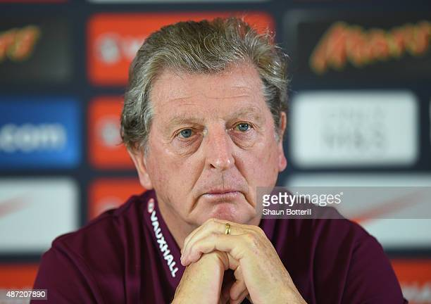 England manager Roy Hodgson talks to the media during a Press Conference at the Grove Hotel on September 7 2015 in Watford England