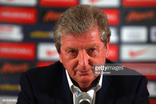 England Manager Roy Hodgson talks to the media during an England Press Conference at The Grove Hotel on October 8 2015 in Hertford England