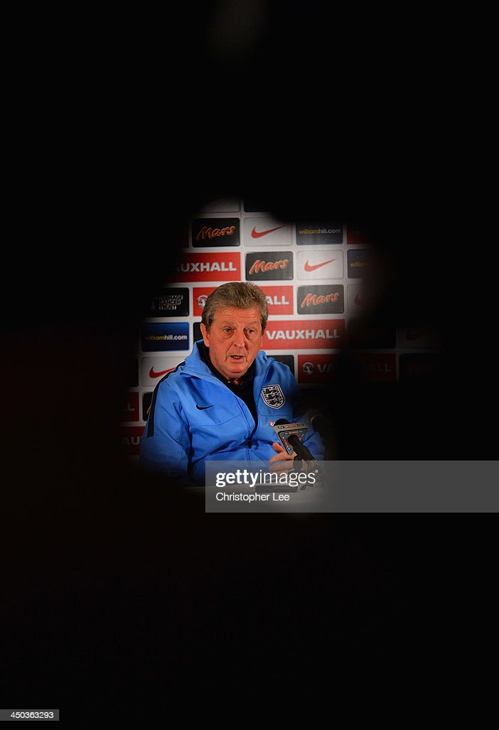 England manager Roy Hodgson talks to the media during England Press Conference at London Colney on November 18, 2013 in St Albans, England.