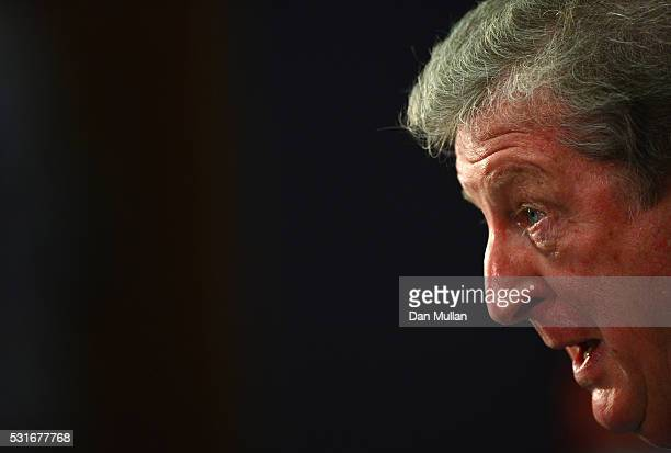England manager Roy Hodgson talks to the media during the 2016 UEFA European Championship Squad Announcement at Wembley Stadium on May 16 2016 in...